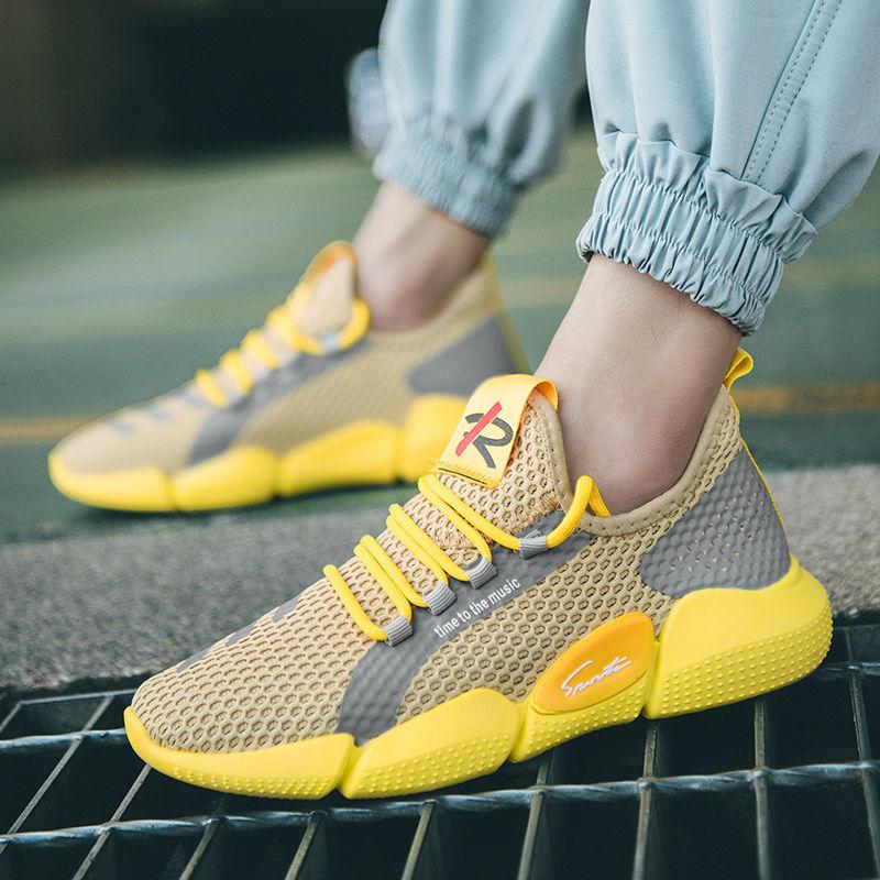 不闷汗网眼男鞋夏季透气��翠跑步鞋2020新款飞织鞋面运动鞋防臭