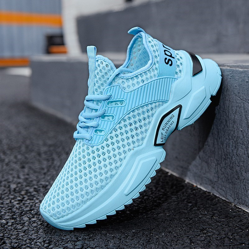 Huili mens shoes ice blue summer breathable thin mesh sports 2021 new mens low top mesh deodorant