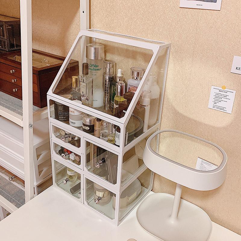 热销1631件限时抢购梳妆台玻璃化妆品收纳盒同款置物架