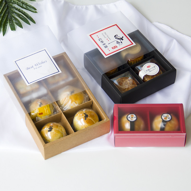 2 / 4 / 6 pieces of egg yolk crispy box cabinet made of rolled sugar cake snow Meiniang mid autumn moon cake packaging box gift bag set