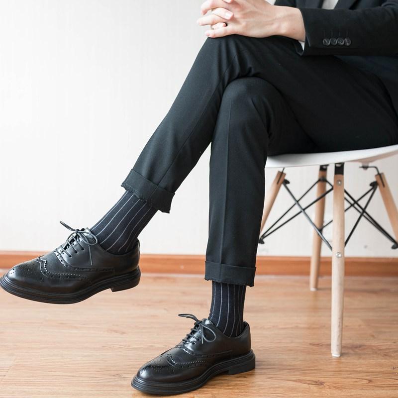 官方轩尧耐克泰西装皮鞋袜子男纯黑色商务中筒绅士长筒英伦正装男