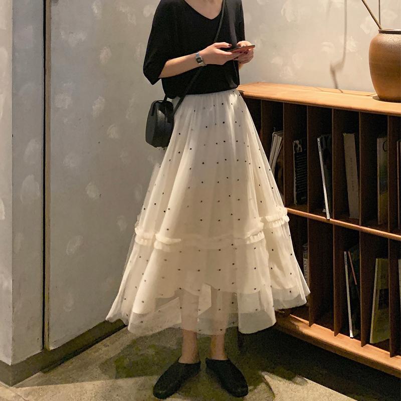 2019秋季新款韩版chic波点半身裙满59.99元可用1元优惠券