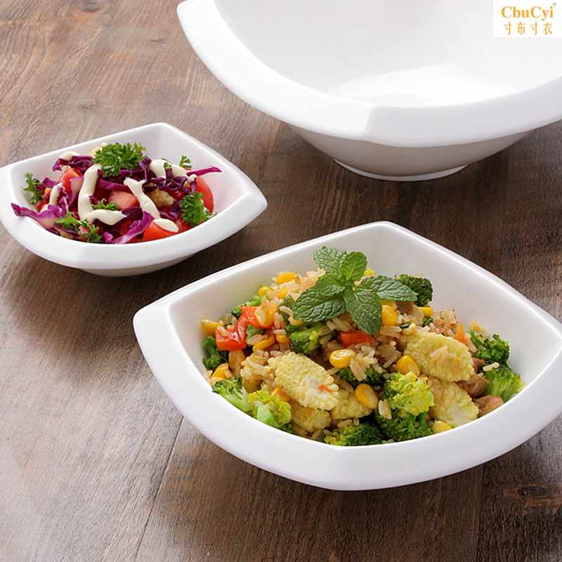 创意陶瓷方形碗 西式大号沙拉碗 水果色拉碗汤碗 米饭碗可微波