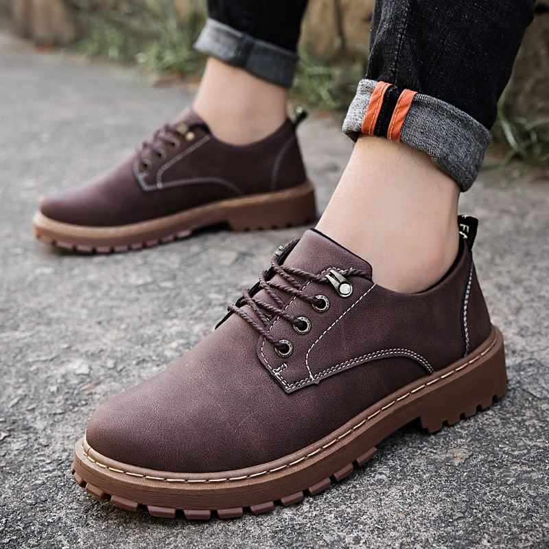 Martin boots mens low top shoes Korean fashion desert leather boots Short Boots Mens boots autumn Huang Feng tooling Boots Mens shoes