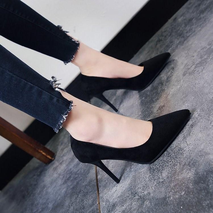 职业高跟鞋女黑色面试学生细跟ol职场正装优雅礼仪五厘米工鞋