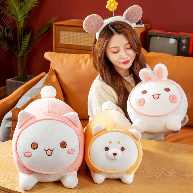 日系团团猫狗兔毛绒玩具公仔玩偶可爱胖兔抱枕床上布娃娃