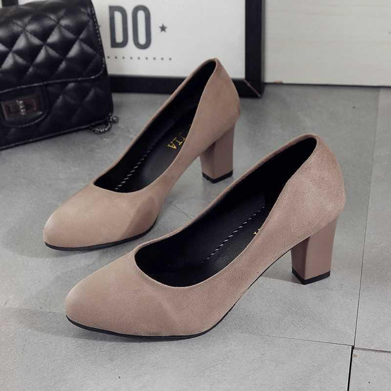 Commuter high heels interview thick heel shoes round head formal dress work professional spring and autumn womens shoes black work.