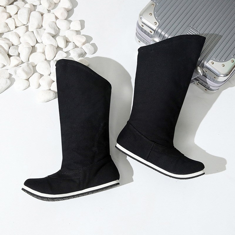 春と秋の時代の靴の男女の漢服の布の靴の古風の石けんの靴の中で侠客の時代の長靴を増加します。