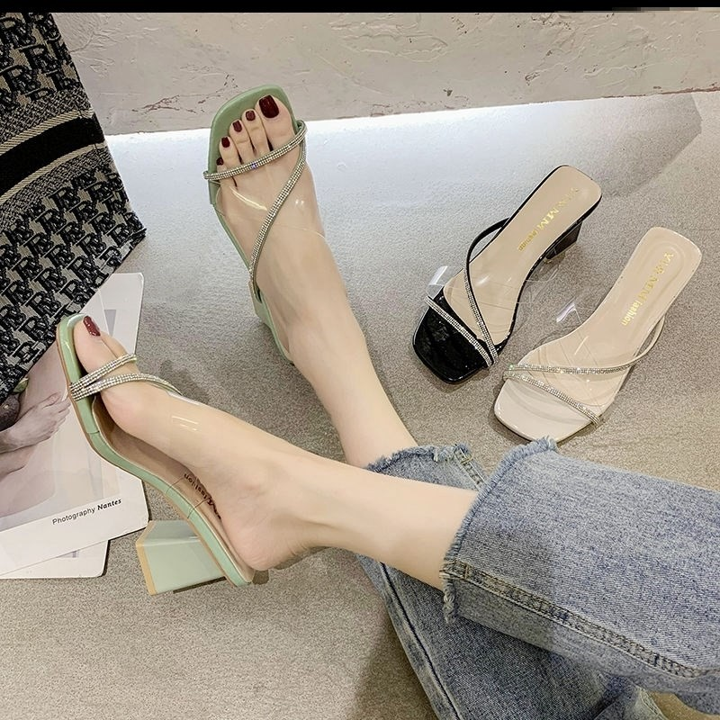 中國代購|中國批發-ibuy99|拖鞋|小跟凉拖鞋粗跟新款夏季高跟凉拖鞋女外穿方头一字拖韩版百搭女鞋