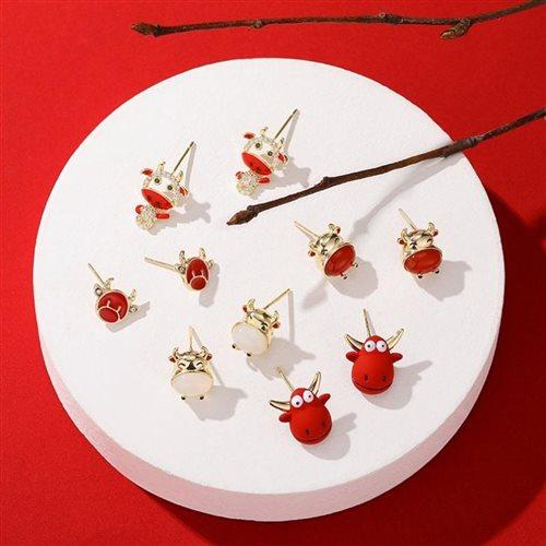 小众特别新年2020年耳钉适合休闲红色系喜庆可爱的耳环耳饰设计感