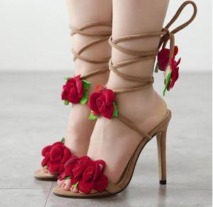 保罗空间2016年新款欧美范明星女鞋子十朵玫瑰花交叉系带高跟凉鞋