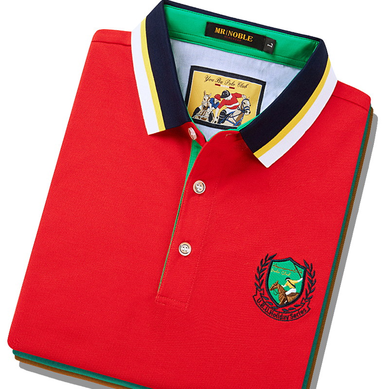 Counter genuine cotton red t-shirt mens short sleeve collar middle-aged and elderly loose Polo Shirt Large