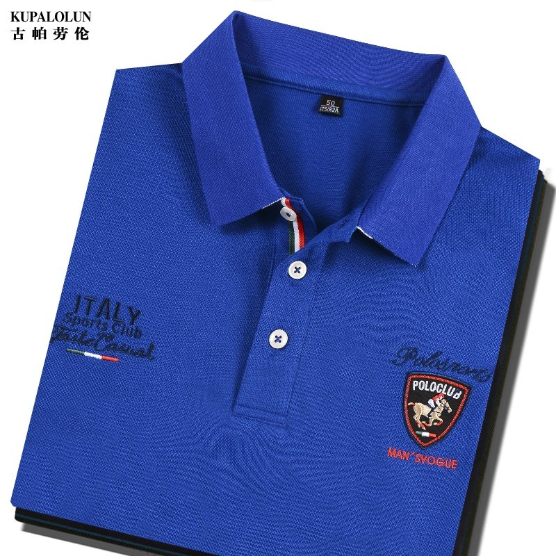 Counter authentic high end mens Blue Short Sleeve T-Shirt pure cotton half Paul SHIRT NEW Embroidered polo shirt summer