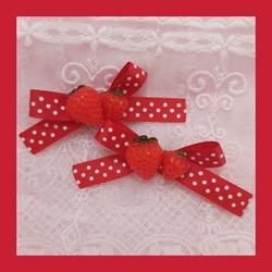 lolita娘呲物手田园甜*小15边夹软蝴蝶结草莓发夹甜可爱作妹