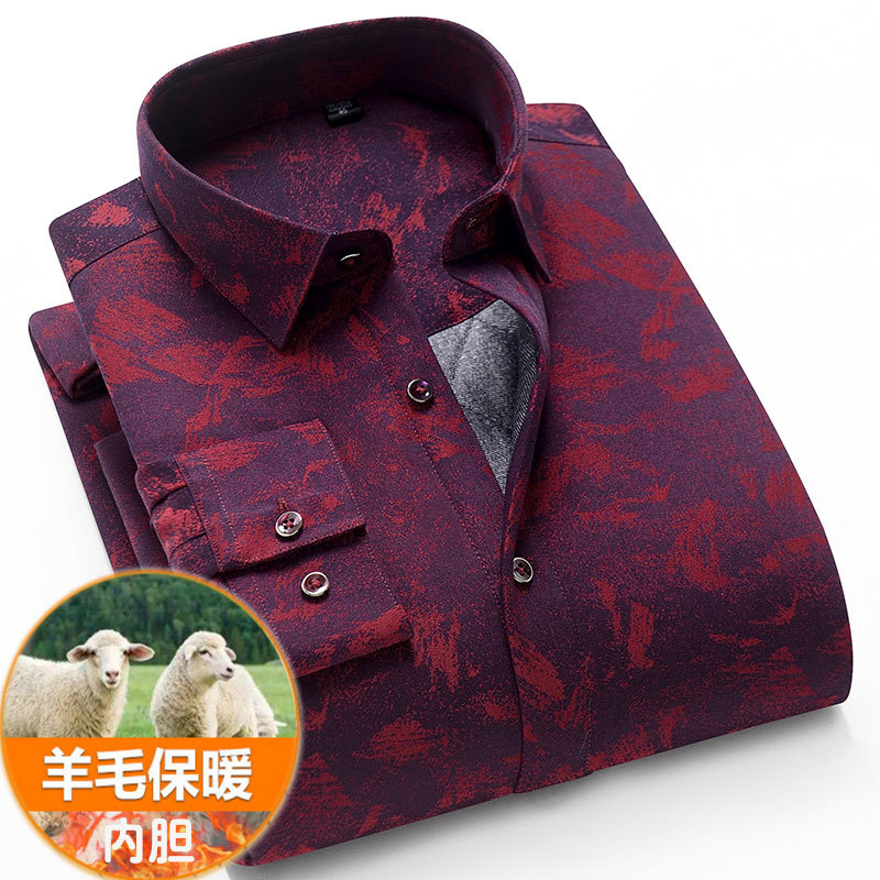 Paolo Baqi shirt winter wear new check shirt middle aged men business casual dad dress loose and warm
