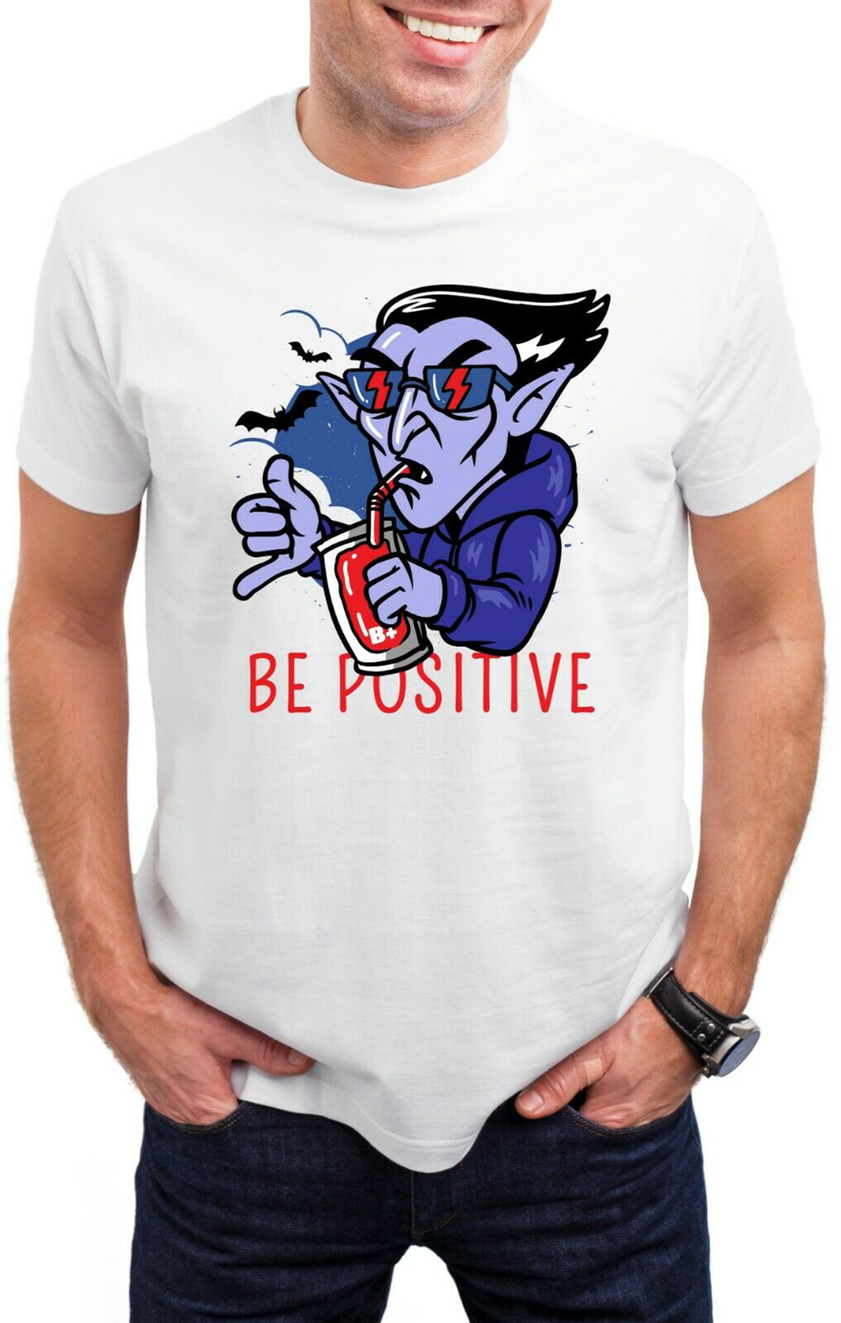 Its a positive Halloween Horror Movie retro Fanny makeup mens and womens Short Sleeve T-Shirt