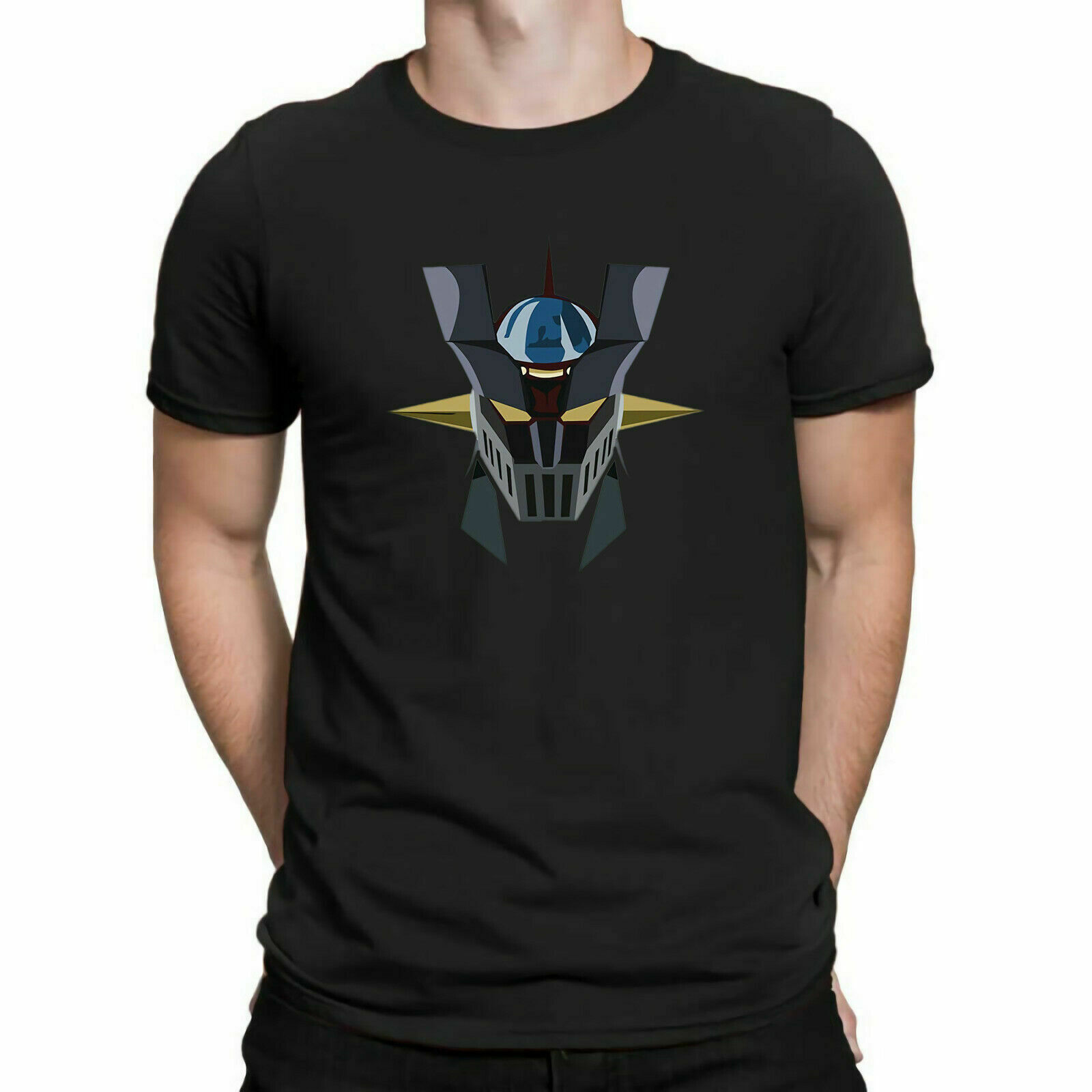 Cotton short mens and womens short sleeve t-shirt by Mazinger Z head anime senti robot