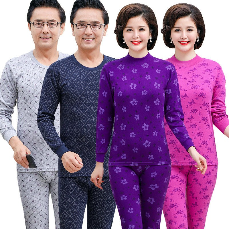 Middle aged and old peoples autumn clothes and trousers warm suit mens and womens high and low collar thin cotton sweater large size mothers underwear