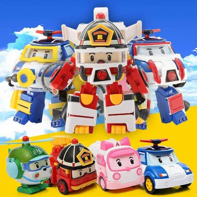 变形汽车玻利警车波利机器人珀利警长玩具安巴罗伊救援全套装儿童