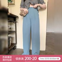 【125斤唐不灵Bling】胖妹妹大码阔腿裤高腰西装裤垂感夏季直筒裤