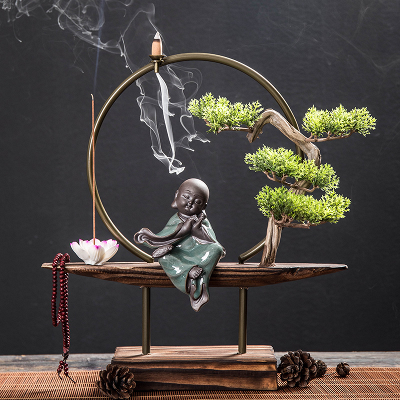New Chinese decorative decoration wall creative backflow incense burner office desk study living room porch iron decorative decoration