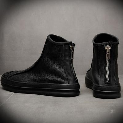 冬季加绒黑色短靴子男士潮流马丁靴