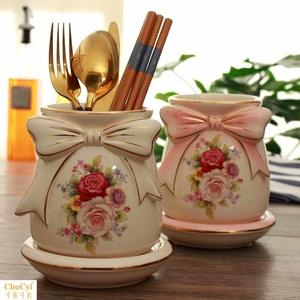 筷子筒陶瓷筷筒厨房家用勺子刀叉多功能筷架沥水筷笼欧式收纳包邮
