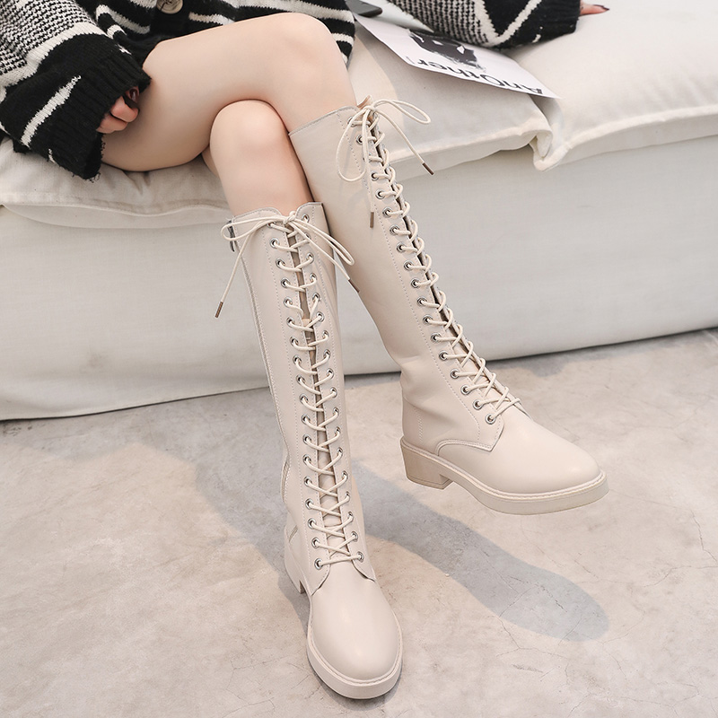 Long Martin boots women's new British style Leggings Knight boots flat bottomed fashion cream white women's boots trend in autumn and winter 2019