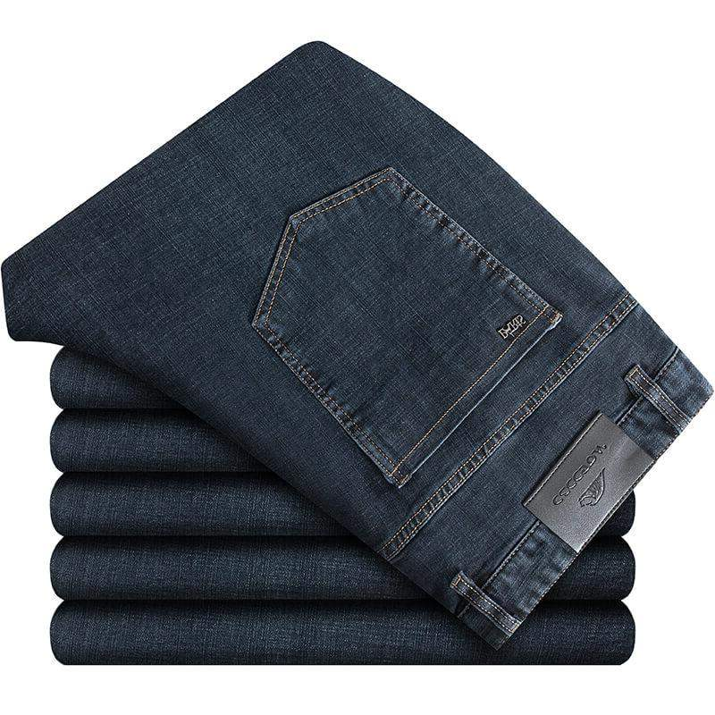 High grade authentic fat man autumn jeans plus extra large mens Micro elastic denim trousers fat man loose straight tube