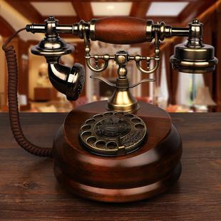 金顺迪欧式仿古实木电话机复古旋转老式家用无线联通电信插卡座机价格