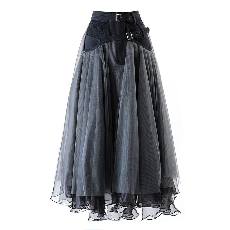欧货蓬蓬裙2020春秋暗黑牛仔拼接纱裙女高腰气质中长款大摆半身裙