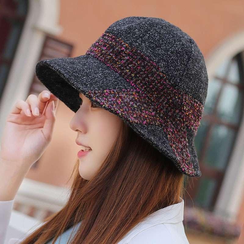 时尚女版春季秋冬款双色呢子软沿盆帽休闲渔夫帽装饰帽逛街出游帽