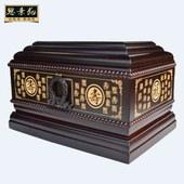 骨灰盒实木黑檀木福禄寿 棺材殡葬用品 花梨木纯实木男女用款 包邮