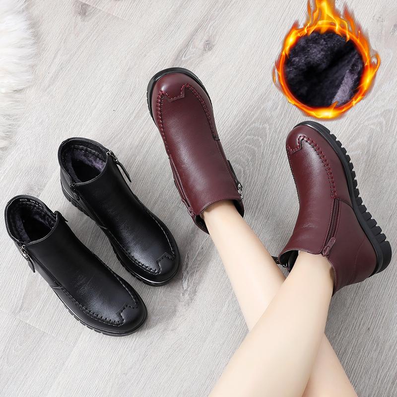 妈妈棉鞋冬保暖中老年短棉靴平底皮鞋加绒雪地靴42大码防滑奶奶鞋