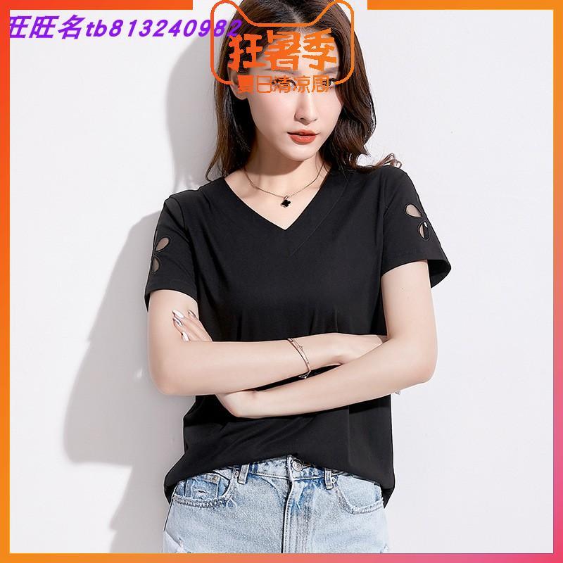夏新款黑色上衣韩版女装显瘦iNS潮流网纱镂空刺绣V领宽松短袖T恤