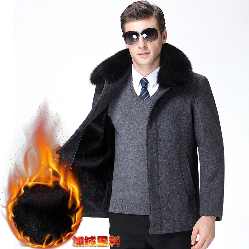 Official naiqipaike 2019 winter Plush middle aged coat mens woollen jacket short middle aged and elderly people