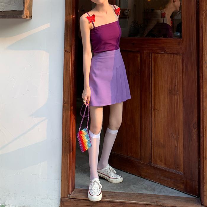 迪乐町甜美泫雅风蝴蝶吊带背心显瘦内搭短款上衣女高腰百褶半身裙