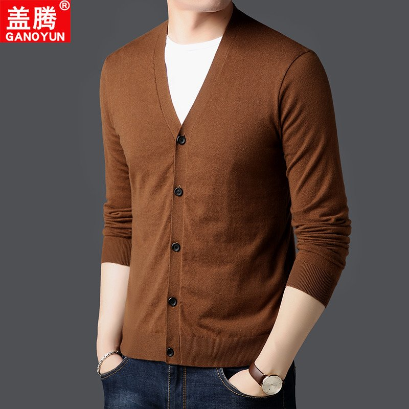High quality mens summer thin cardigan ice silk sweater V-Neck Sweater mens sweater with ultra thin