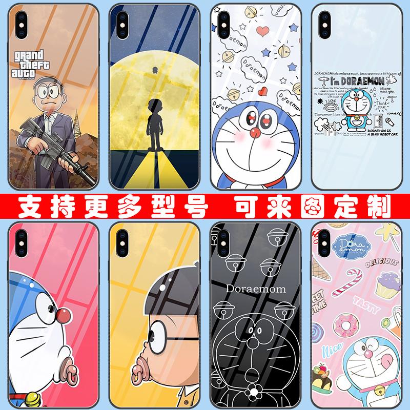 10月12日最新优惠机器猫哆啦A梦iPhone8苹果x/xr/xsmax玻璃手机壳vivo小米华为o