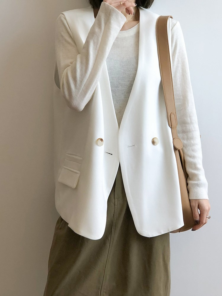 Autumn 2020 new white waistcoat womens casual and relaxed Hong Kong style one button suit jacket vest coat shoulder
