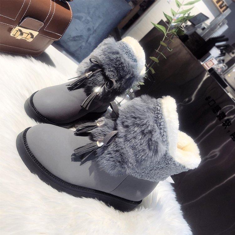 2019冬季新款靴子女鞋套筒2019年春季平底橡胶流苏圆头短筒低跟牛