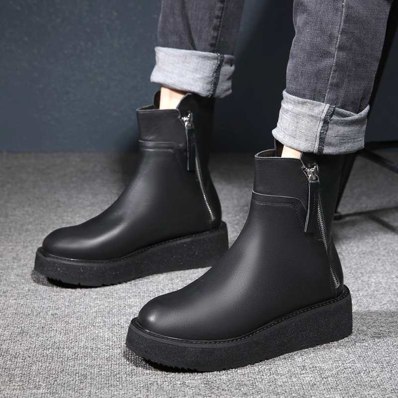 Fashion trend mens boots heightening thick soled fashion flat heel mens toe cap leather Martin boots outdoor boots zipper autumn and winter