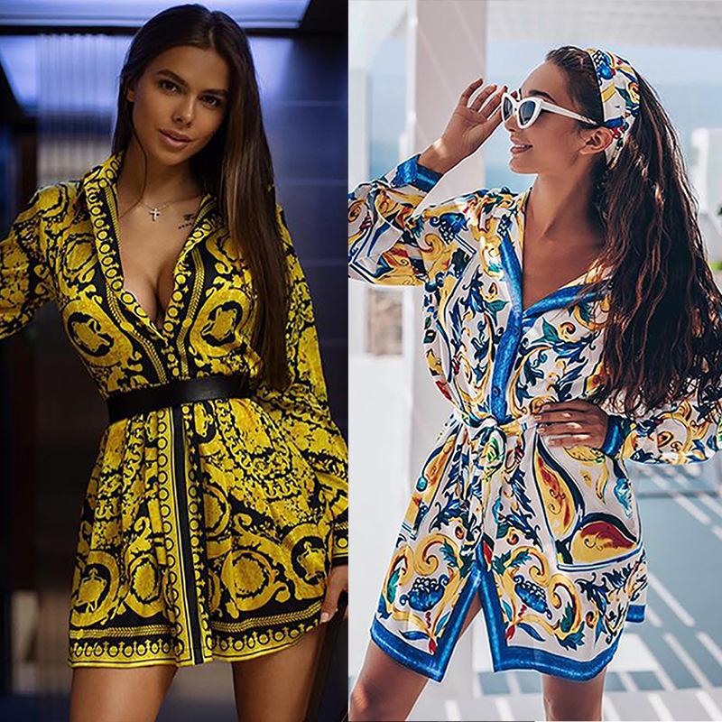 Cross border womens 2020 spring / summer new Bohemian positioning print lace up long sleeve shirt Romper skirt