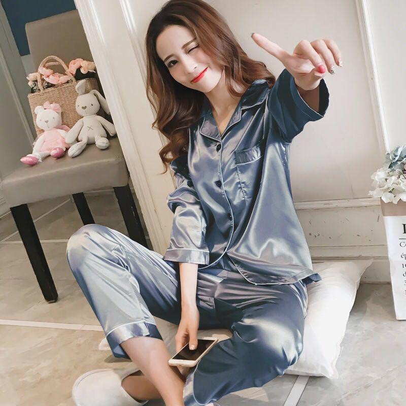 睡衣女春秋长袖薄款性感韩版夏季冰丝女士家居服丝绸两件套装大码
