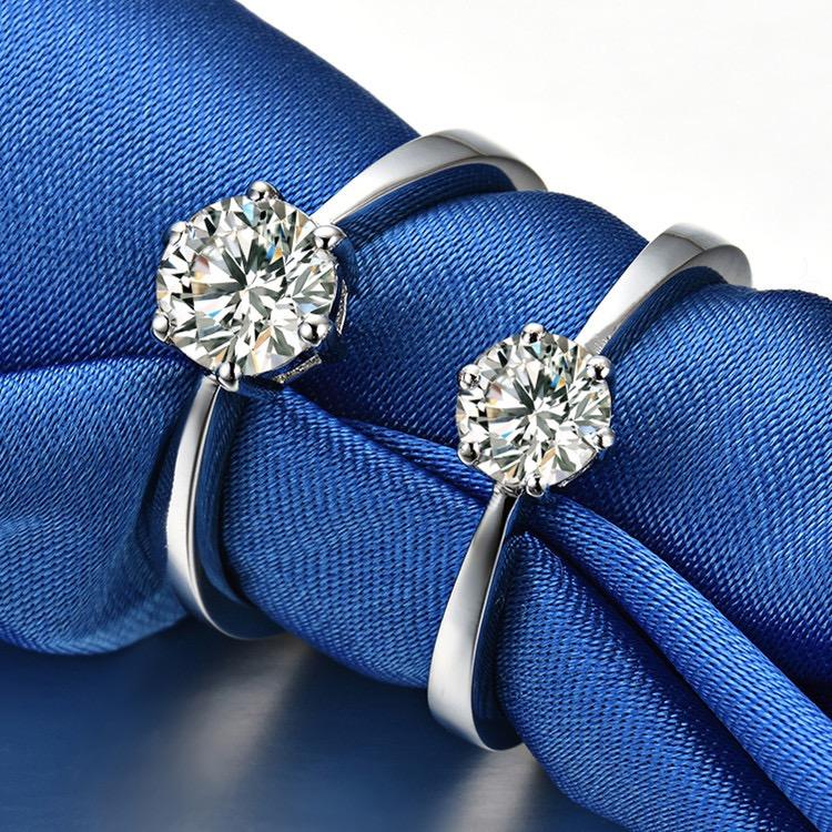 正品pt950铂金戒镶嵌莫桑石钻d色六爪戒指钻戒18k白金求婚嫁首饰