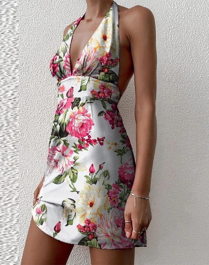 Womens Digital Printed Summer  Sexy Halter Dress