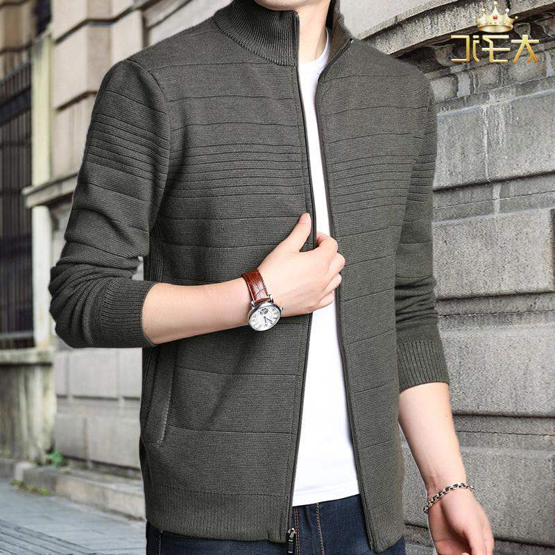 High quality new autumn long sleeve stand collar mens coat sweater jacket fashion mens autumn cardigan