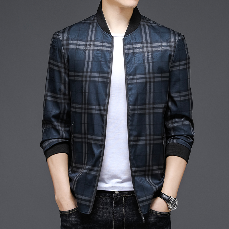 High quality jacket mens spring and autumn loose Plaid pilots baseball suit Trend Sports American senior leisure jacket