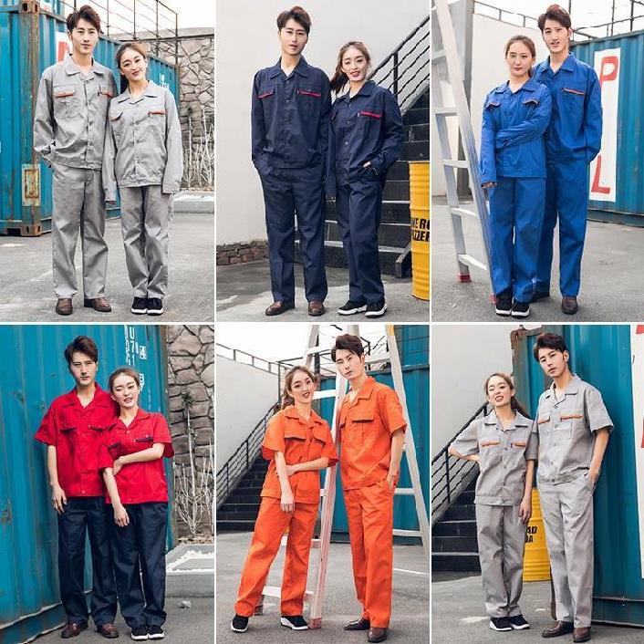 Labor protection clothing work clothes summer air permeable automobile repair red factory clothes mens durable coat anti dirty printing words railway workers