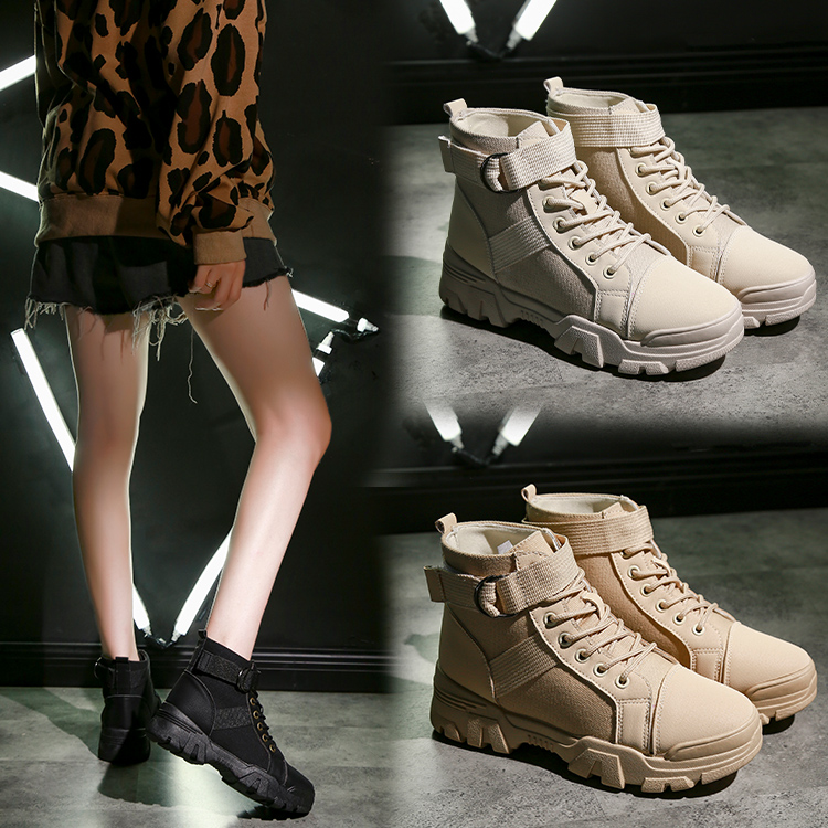 Ins2020 new spring and autumn lace up flat bottom middle heel breathable Korean versatile thick bottom British womens boots Martin boots
